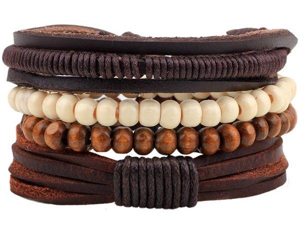 Sady čtyř trendy unisex náramků z přírodních materiálů (kůže, dřevo, len) Varianta: 4