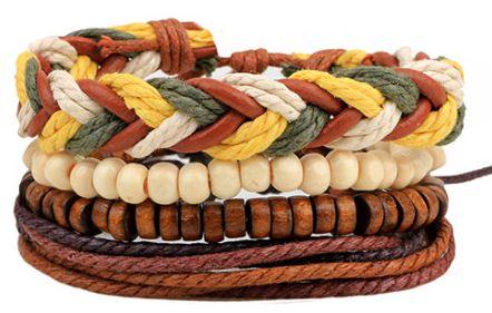 Sady čtyř trendy unisex náramků z přírodních materiálů (kůže, dřevo, len) Varianta: 1