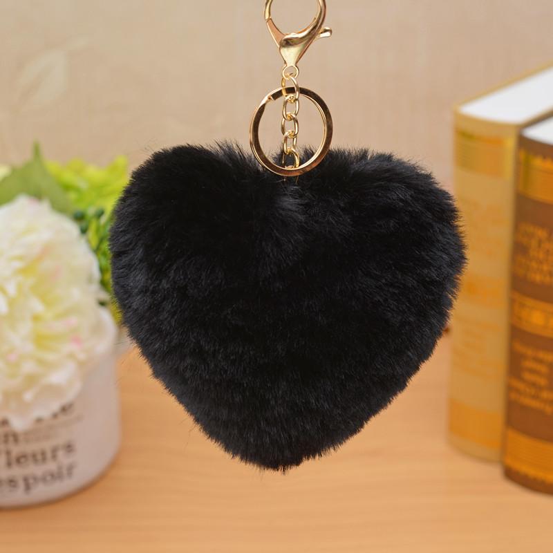 Králičí přívěšky (srdíčka) na kabelku, klíče a telefony Barva: CERNA