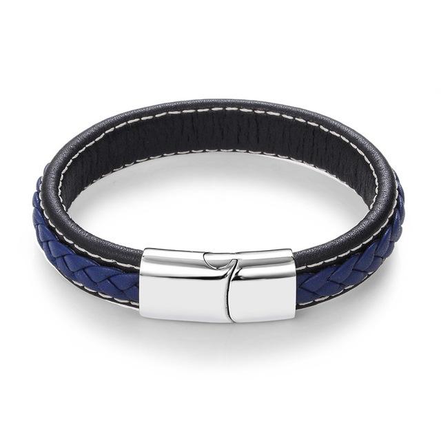 Elegantní pánské kožené náramky Barva: Modrá
