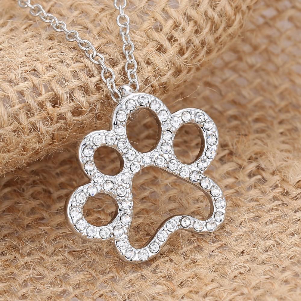 Náhrdelník ve tvaru psí nebo kočičí tlapky-stříbrný