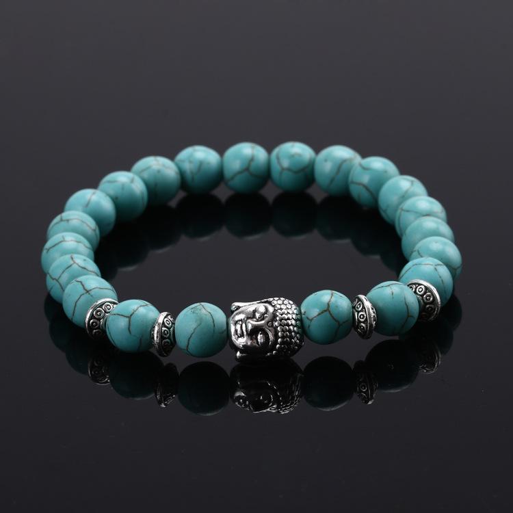 Náramek z přírodních kamenů (tyrkys)s Buddhou