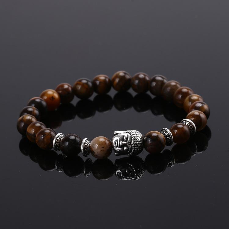 Náramek z přírodních kamenů (tygří oko)s Buddhou