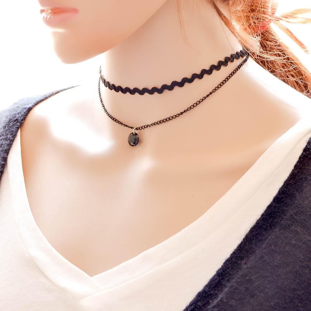Módní dvouřadý náhrdelník s přívěškem