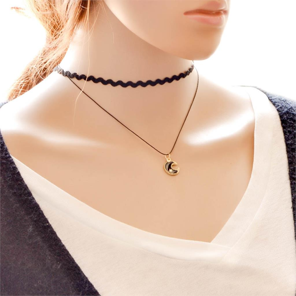 Módní dvouřadý náhrdelník s přívěškem měsíce