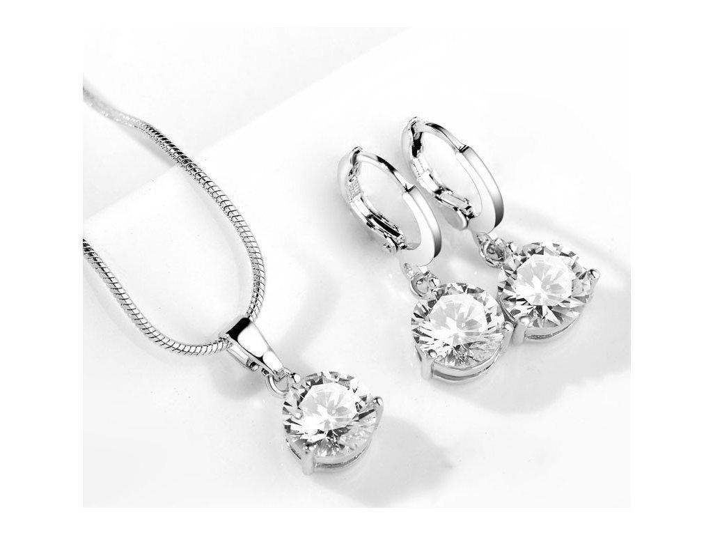 Set šperků náušnice a náhrdelník se zirkonem Nicola