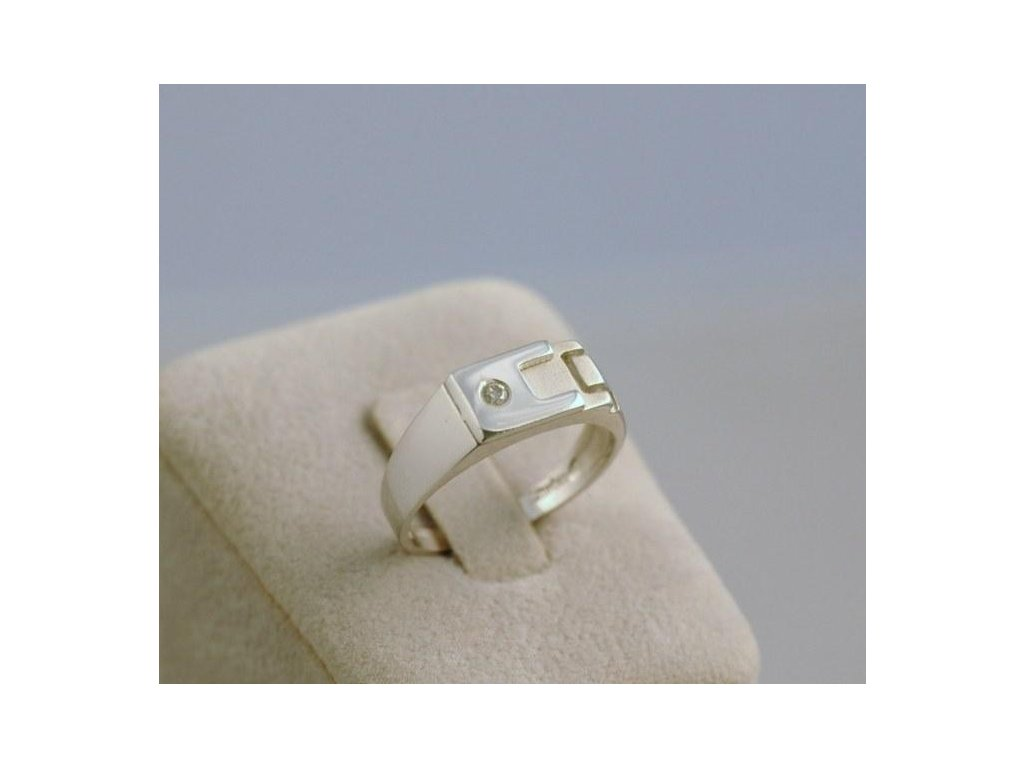 Prsten z bílého zlata Angelo