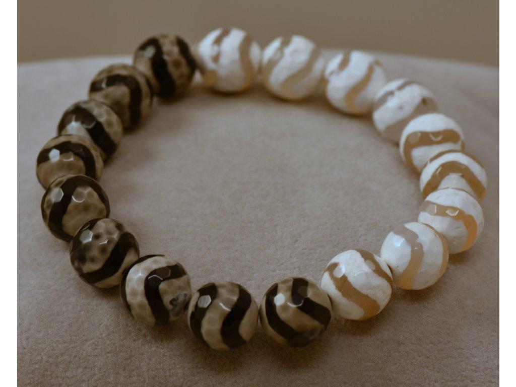 Náramek z přírodních kamenů černobílý