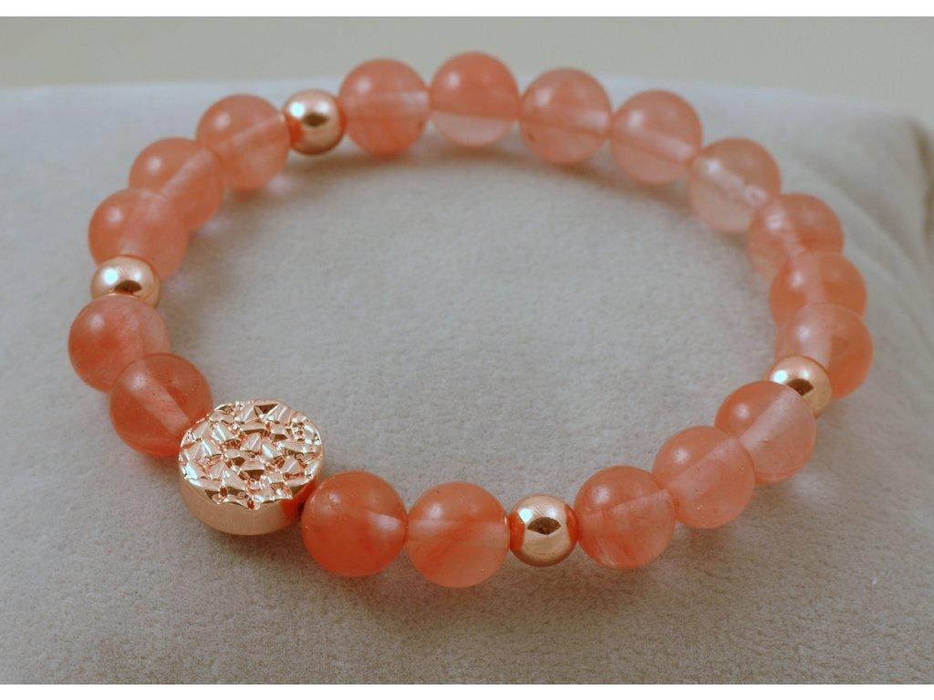 Náramek z přírodních kamenů růžový