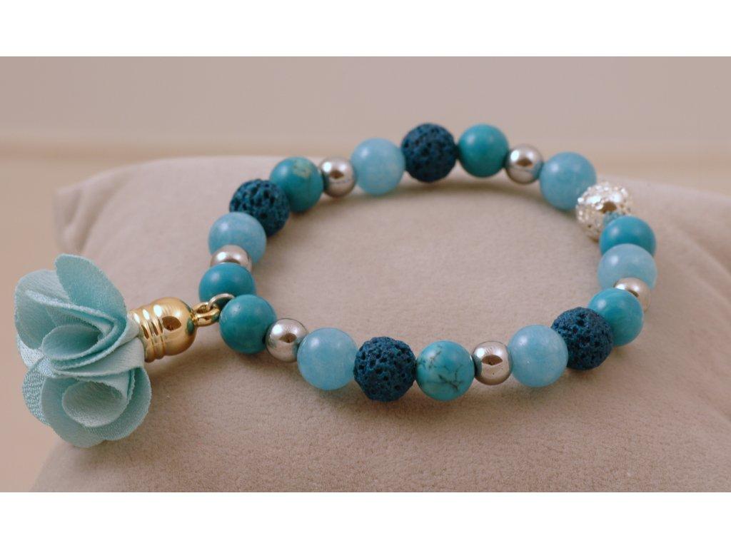 Náramek z přírodních kamenů tyrkysově modrý