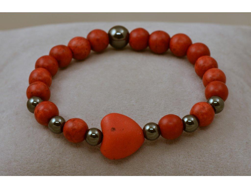 Náramek z přírodních kamenů červený