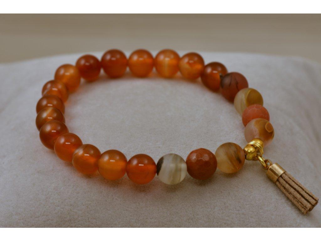Náramek z přírodních kamenů oranžový