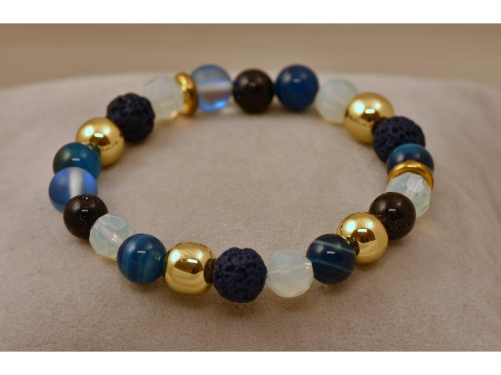 Náramek z přírodních kamenů modrozlatý