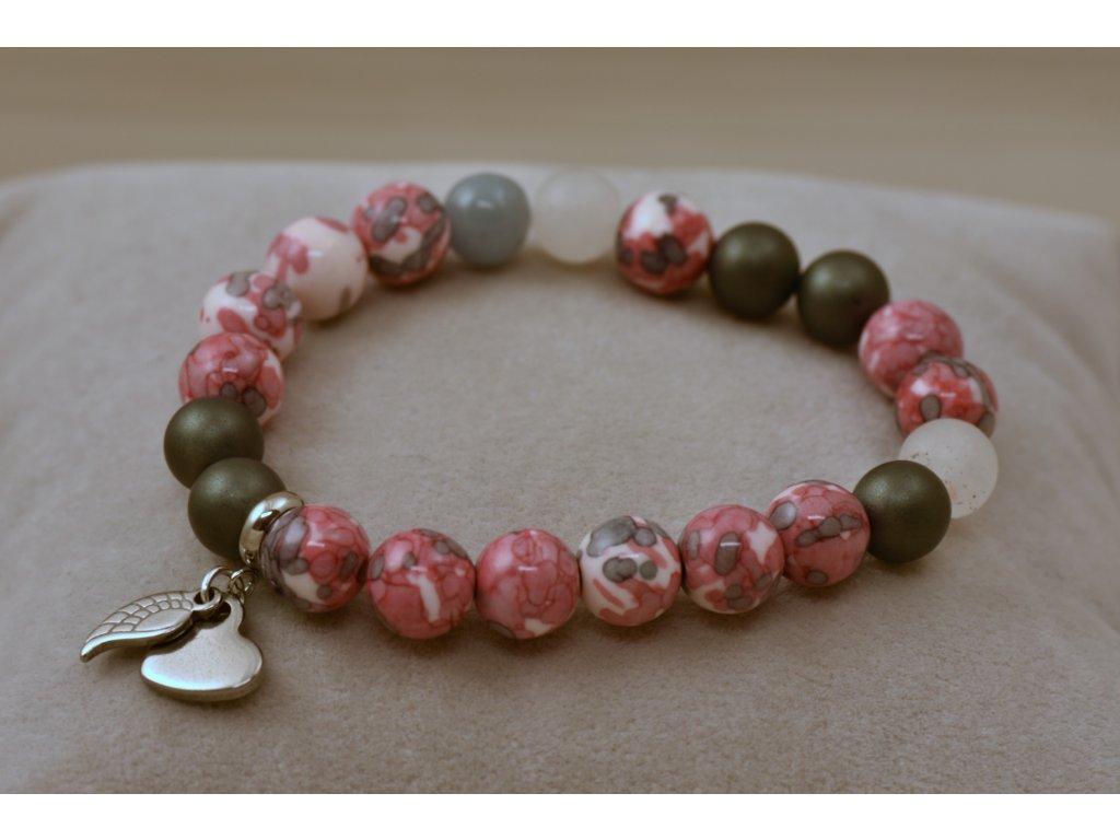 Náramek z přírodních kamenů růžovošedý