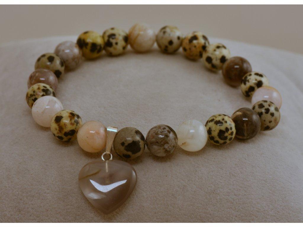 Náramek z přírodních kamenů jaspis dalmatin