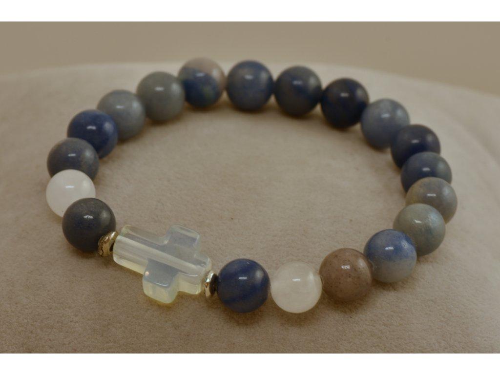 Náramek z přírodních kamenů aventurín modrý