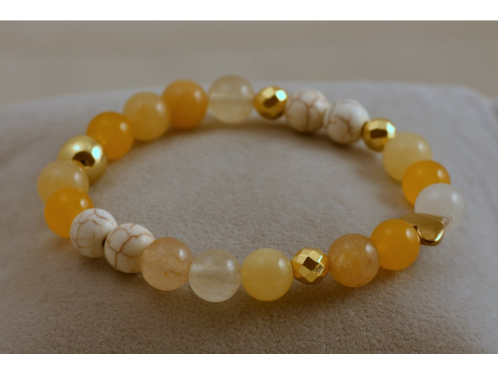 Náramek z přírodních kamenů žlutý