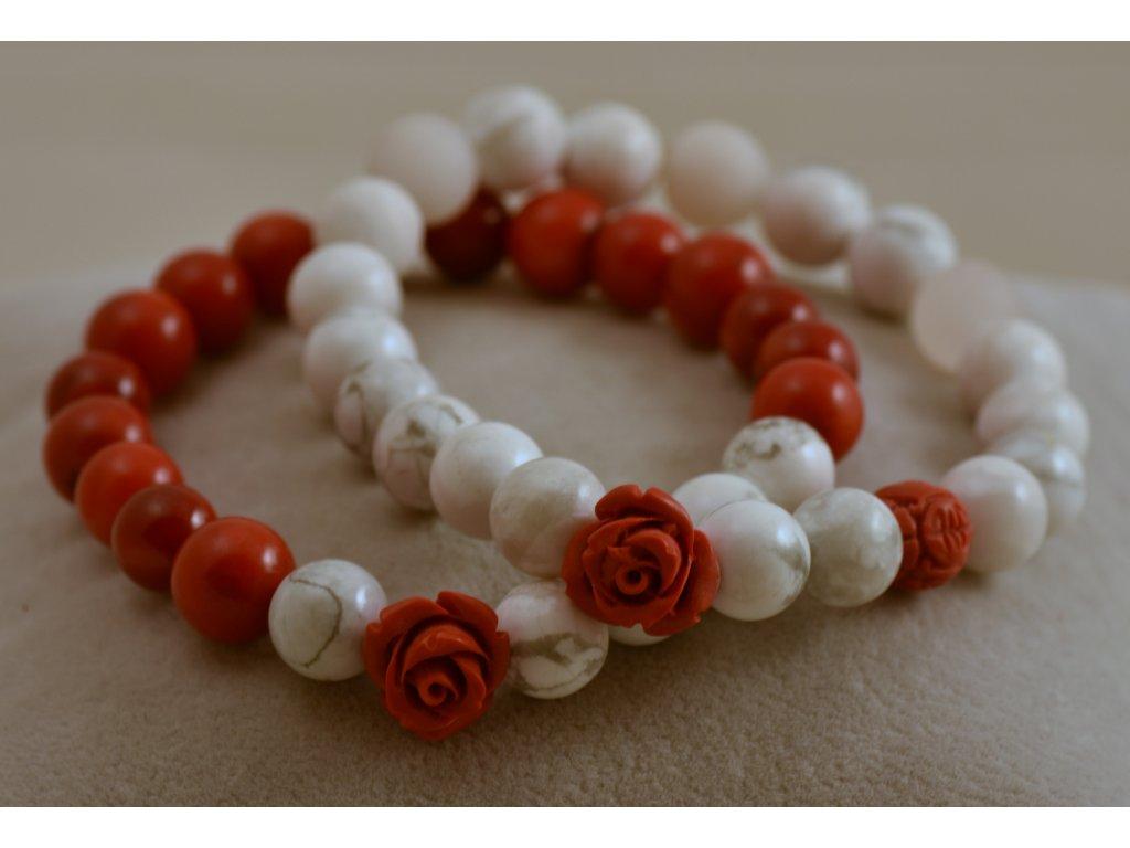 Náramky z přírodních kamenů set bíločervený