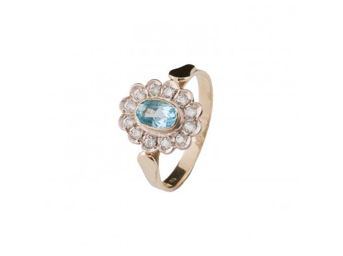 Prsten zlato s modrým topazem a zirkony 4,05 g