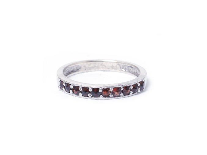 Granada - granátový šperk - prsten rhodiované stříbro 925/1000