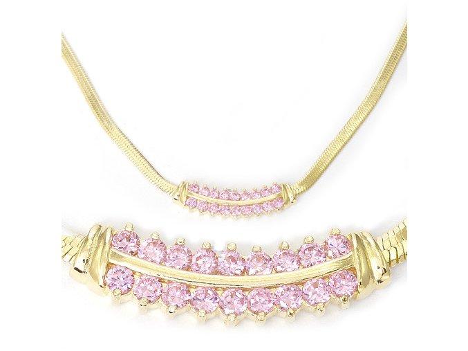 Ester Pink - pozlacený náhrdelník