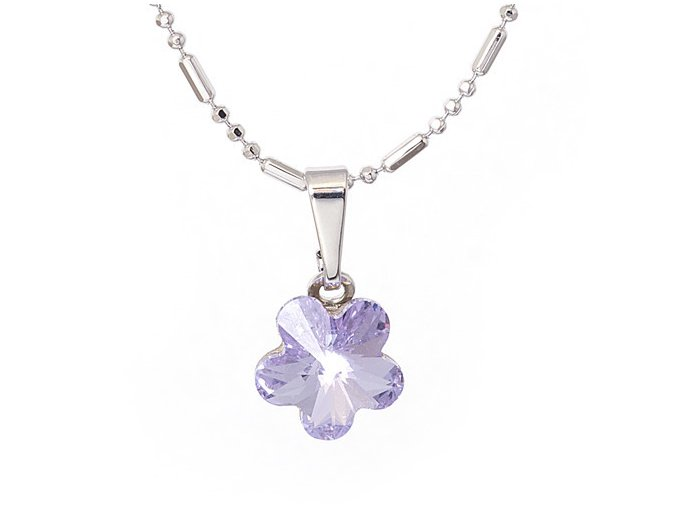 Flora - Violet - náhrdelník s přívěskem  «F»