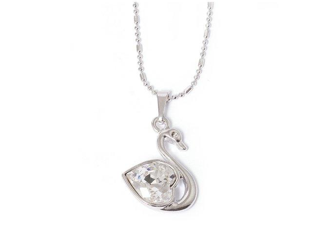 Labuť Crystal - náhrdelník Swarovski  «F»