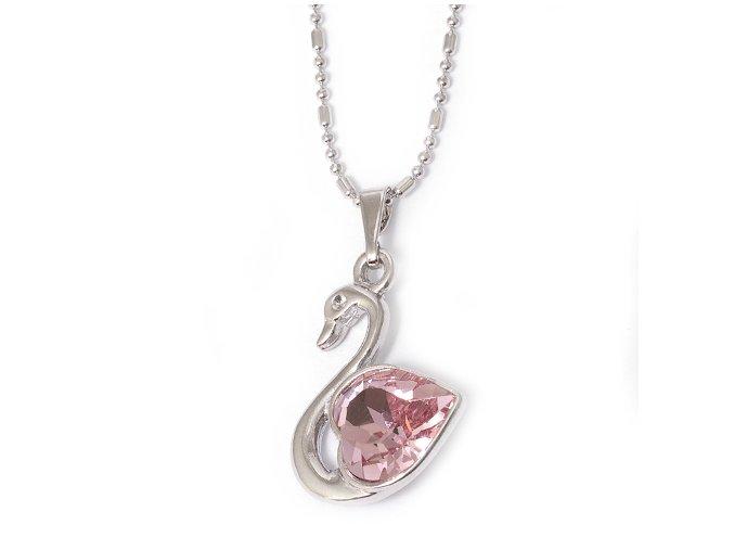 Labuť Rose - náhrdelník Swarovski  «F»