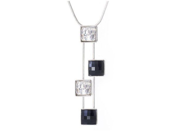 Lucas - náhrdelník pokovený rhodiem s kameny Swarovski  «F»