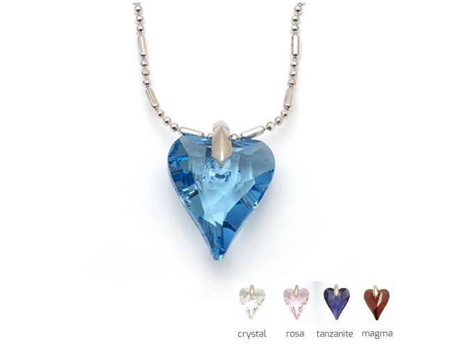 Nicoleta - náhrdelník srdíčko z crystalu Swarovski  «F»