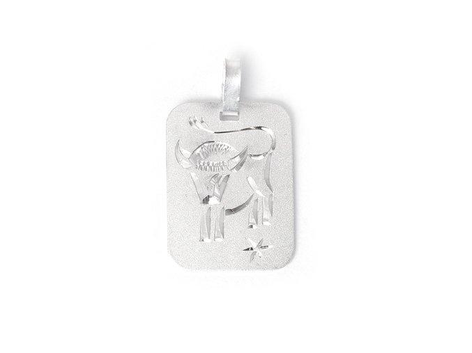 Destička Býk - přívěsek horoskop - stříbro 925/1000