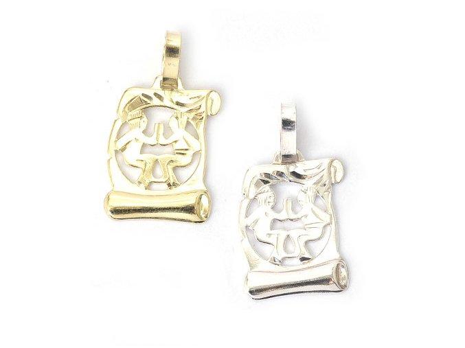 Pergamen Blíženci - přívěsek horoskop - stříbro 925/1000