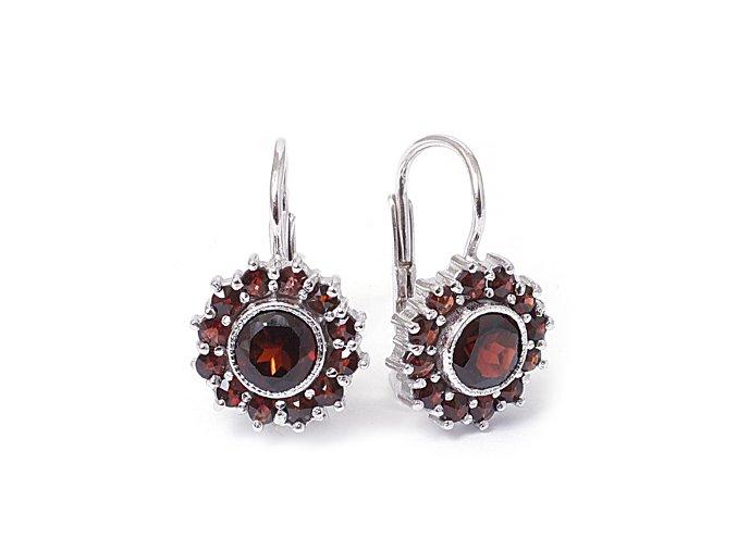 Magdalena - granátový šperk - náušnice rhodiované stříbro 925/1000