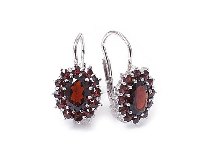 Miriam - granátový šperk - náušnice rhodiované stříbro 925/1000