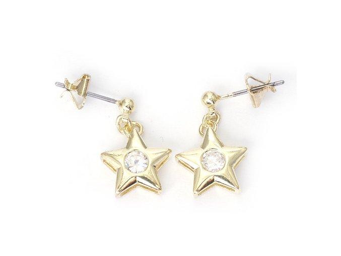 Star White - náušnice pozlaceno