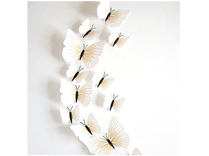 "3D motýlci ""EMANUEL"" - bílí 12 ks"
