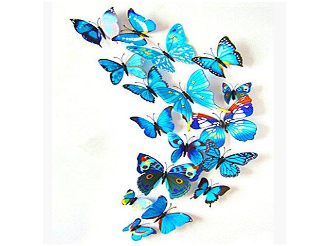 """3D motýlci """"EMANUEL"""" - modří 12 ks"""