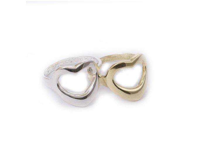 Corazon - prsten stříbro 925 (Materi Pozlacené Stříbro 925 (14K), Velikost 51)