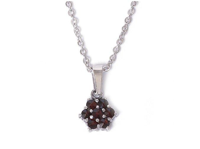 Klára - přívěsek  granátový šperk - rhodiované stříbro 925/1000