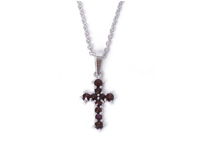 Křížek M - přívěsek granátový šperk - rhodiované stříbro 925/1000