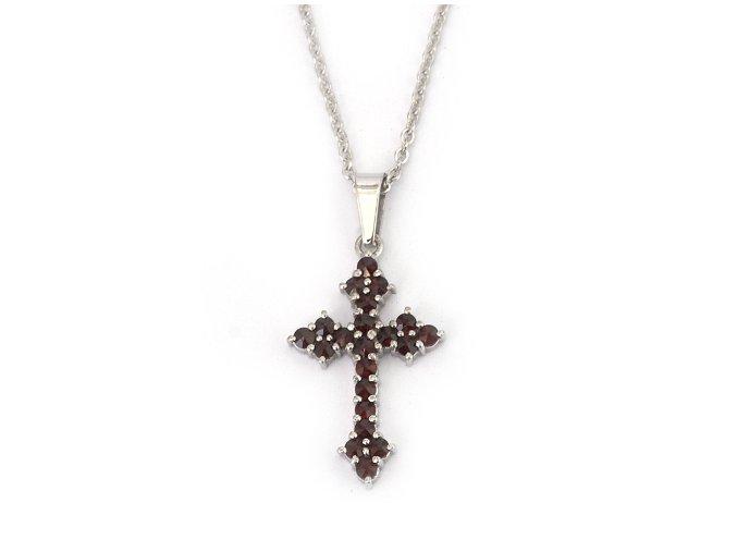 Křížek V - přívěsek  granátový šperk - rhodiované stříbro 925/1000