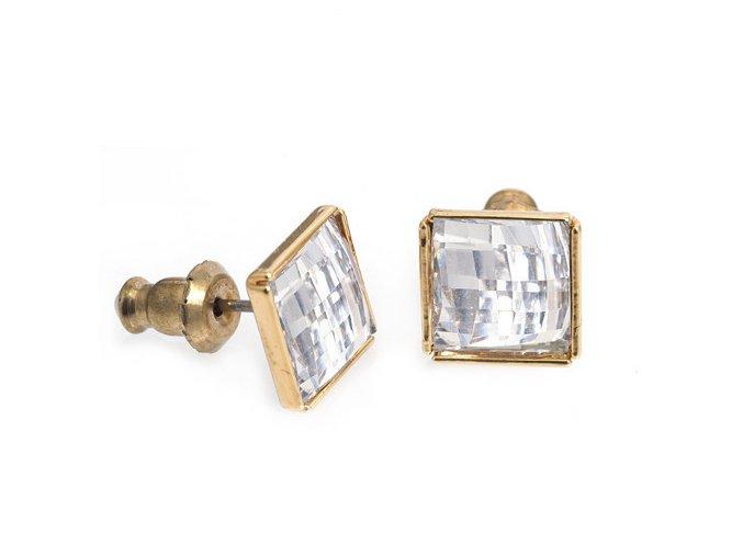 Lucas Gold Crystal - náušnice pokovené zlatem