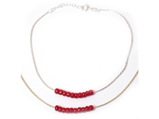 Nákotník korálky červené - stříbro 925/1000