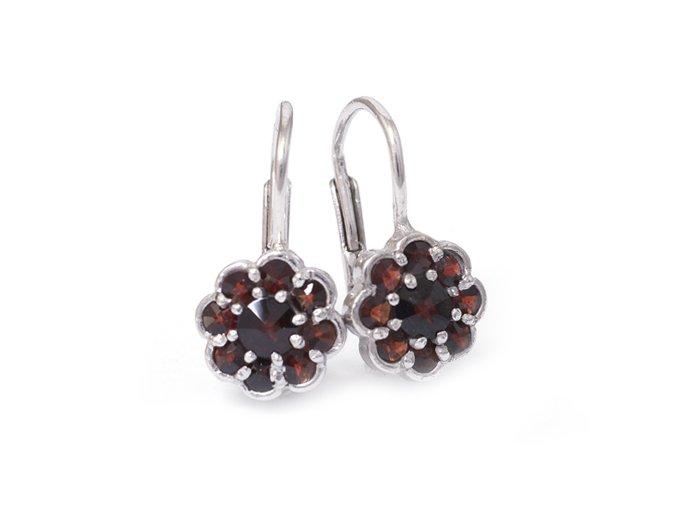 Rozálie - náušnice / granátový šperk - rhodiované stříbro 925/1000