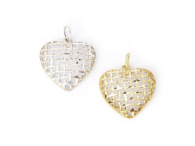 Srdce Net - přívěsek stříbro 925/1000