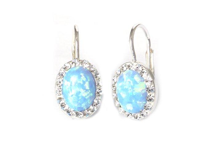 Opal Blue - náušnice stříbro 925/1000