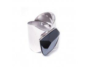 Galactic Black - prsten s crystalem Swarovski  «F»