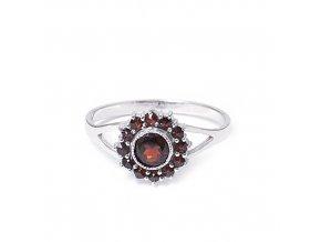 Magdalena - granátový šperk - prsten rhodiované stříbro 925/1000
