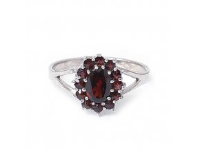 Miriam - granátový šperk - prsten rhodiované stříbro 925/1000