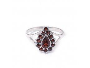 Olivie - granátový šperk - prsten rhodiované stříbro 925/1000